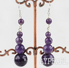 Lovely Calabash Amethyst Dangle Earrings With Fish Hook