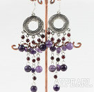chandelier shape amethyst garnet earring
