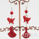 Lovely Red Butterfly Vase Cinnaba Bloodstone Dangle Earrings With Fish Hook