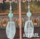 Simple Large Iolite Green Jade Dangle Earrings With Fish Hook