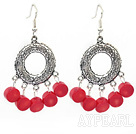 Vintage Style Buddha-Hand Shape Red Coral And Loop Metal Charm Earrings With Fish Hook