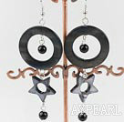 Lovely Long Style Black Series Round Agate And Donut Hollow Star Shape Shell Earrings