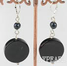 Wholesale black pearl and agate earrings 