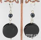 Wholesale black pearl and agate earrings