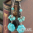 Fashion Long Style Round And Flower Blue Turquoise Dangle Earrings With Fish Hook