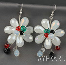 Wholesale Fashion Style Milk White Color Crystal Flower Earrings