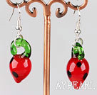 Wholesale strawberry shape colored glaze earrings