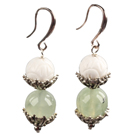 Classic Simple Style White Sea Shell Prehnite Bead Dangle Earrings