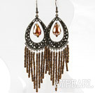 Wholesale Vintage Style Brown Crystal Tassel Earrings