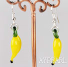 pepper shape yellow colored glaze earrings
