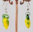 Beautiful Corn Shape Yellow Colored Glaze Dangle Earrings With Fish Hook