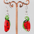 Beautiful Simple Watermelon Shape Colored Glaze Dangle Earrings With Fish Hook
