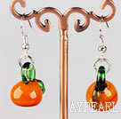 Nice Short Style Orange Berry Shape Colored Glaze Loop Earrings With Fish Hook