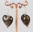 smoky colored glaze heart earrings