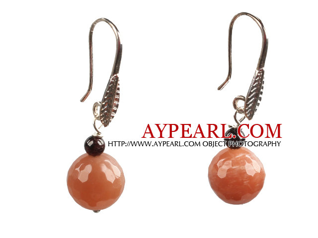 Classic Simple Style Garnet Faceted Sunstone Bead Dangle Earrings