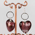 Reddish brown colored glaze heart earrings