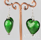 green colored glaze heart earrings