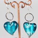 lake blue heart shape colored glaze earrings