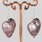 Nice Short Style Purple Heart Shape Colored Glaze Drop Earrings With Fish Hook