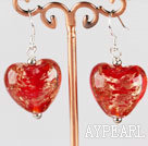 Wholesale red heart shape colored glaze earrings