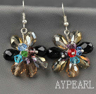 Fashion Style Assorted Multi Color Crystal Flower Earrings