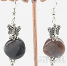 Nice Indian Agate And Butterfly Charms Dangle Earrings With Fish Hook
