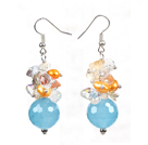 Nice Eye Shape Blue Colored Glaze Crystal And Cap Charm Dangle Earrings