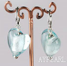 Nice Sky Blue Heart Shape Colored Glaze Dangle Earrings With Ear Hoops