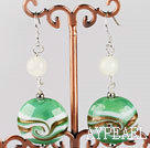 Wholesale green round shape 20mm colored glaze earrings