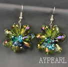 Fashion Style Olive Green Series Crystal Flower Earrings