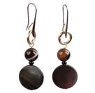 Wholesale Simple Long Style Banded Agate Bead Oblate Black Lip Shell Dangle Earrings With Golden Loop