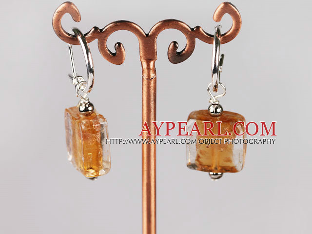 yellow square shape colored glaze earrings