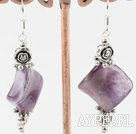 Lovely Rhombus Shape Amethyst And Flower Charm Dangle Earrings With Fish Hook