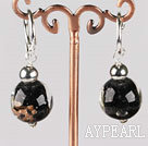 Fashion 12 Mm Black Colored Glaze Ball Dangle Earrings With Ear Hoops