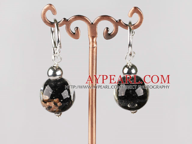 black 12 mm colored glaze ball earrings