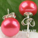 8-8.5 mm cultured natural fresh water dyed rose pink pearl studs