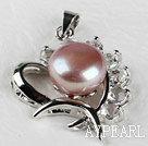 beautiful purple fresh water pearl heart pendant with rhinestone( no chains)