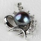 beautiful black fresh water pearl heart pendant with rhinestone( no chains)
