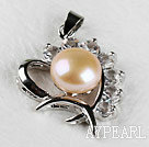 beautiful pink fresh water pearl heart pendant with rhinestone( no chains)
