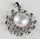 Lovely White Freshwater Pearl Metal Pendant Without Chains