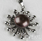 Lovely Black Freshwater Pearl Metal Pendant Without Chains
