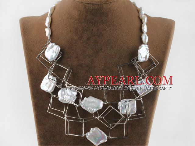 fashion costume jewelry white irregular pearl and square metal loop necklace