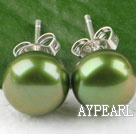 Hot 8-8.5Mm Olive Green Freshwater Pearl Studs Earrings