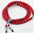 Red Coral Prayer Bracelet with 925 Sterling Silver Accessories (  Rosary Bracelet Total 108 Beads ,can also be necklace)