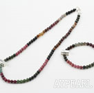 Wholesale Natural Tourmaline Beaded Set with 925 Sterling Silver Accessories ( Necklace and Matched Bracelet)
