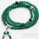 Green Agate Prayer Bracelet with Black Agate and 925 Sterling Silver Accessories ( Rosary Bracelet Total 108 Beads, can also be necklace )