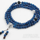 Faceted Blue Agate Prayer Bracelet with 925 Sterling Silver Accessories (  Rosary Bracelet Total 108 Beads, can also be necklace )