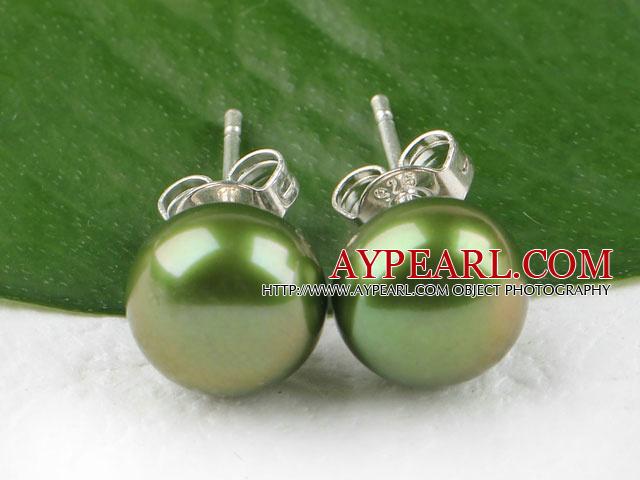 Hot 8-8.5Mm Olive Green Freshwater Pearl Studs Earrings