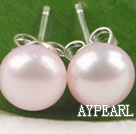 Wholesale post earring 8-8.5mm pink pearl studs