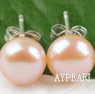 Classic 8-8.5Mm Natural Pink Freshwater Pearl Studs Earrings